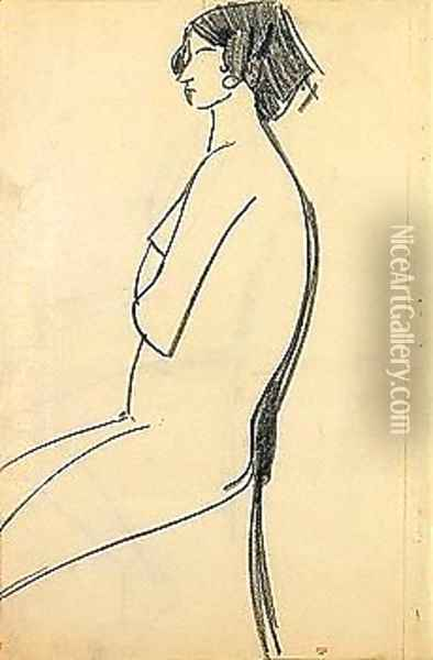 Woman sitting Oil Painting - Amedeo Modigliani
