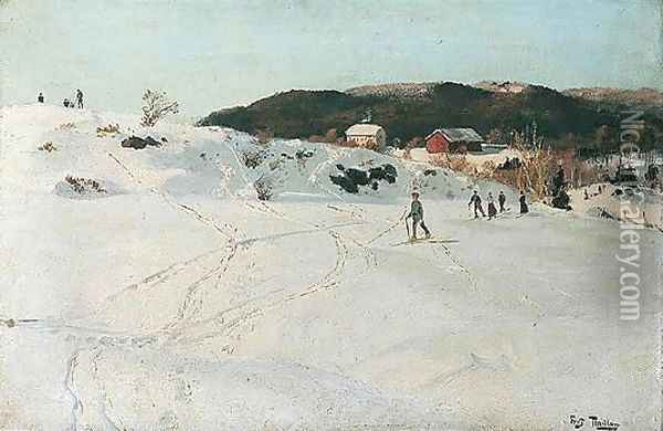 Skilopere (Winter Scene) Oil Painting - Fritz Thaulow