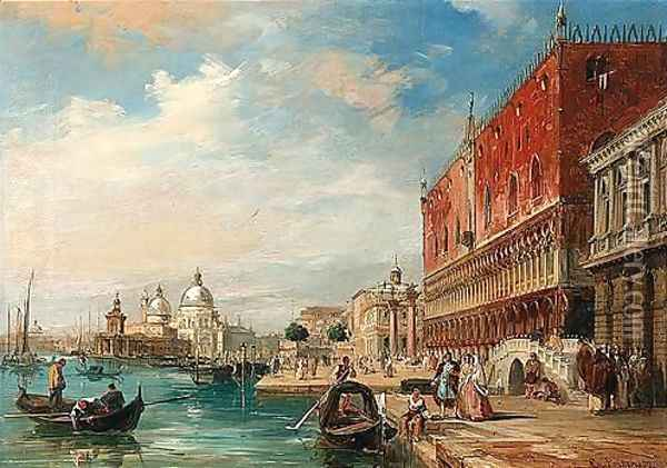 Santa Maria Della Salute From The Doge's Palace, Venice Oil Painting - Edward Pritchett