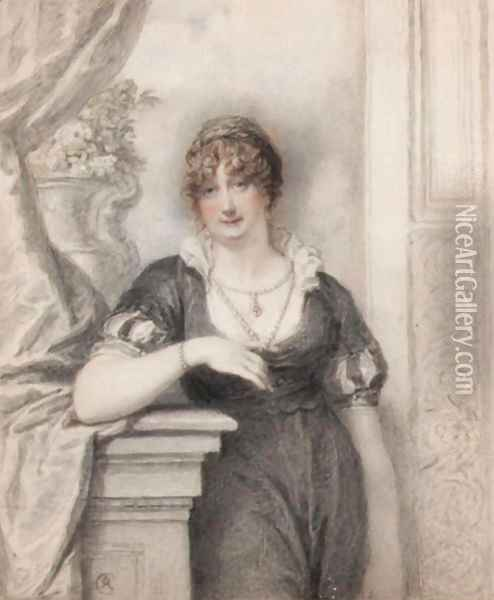 Portrait Of A Lady, Said To Be Charlotte, Marchioness Of Townshend Oil Painting - Richard Cosway