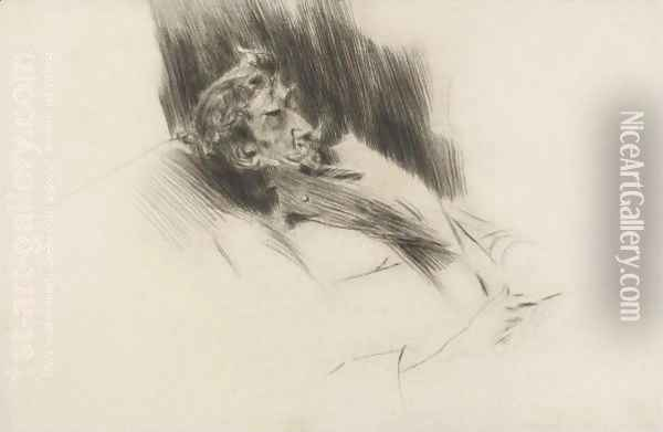 Portrait Of Whistler Asleep Oil Painting - Giovanni Boldini