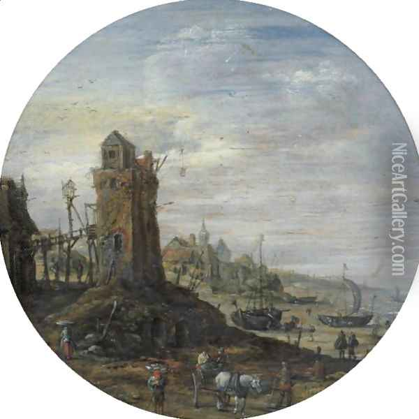 A Bustling Coastal Scene With A Lighthouse Oil Painting - Jan van Goyen