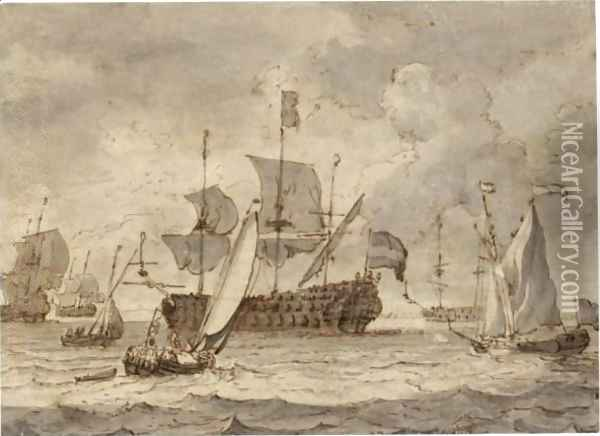The Embarkation Of William III And Mary Of Orange Oil Painting - Ludolf Backhuysen