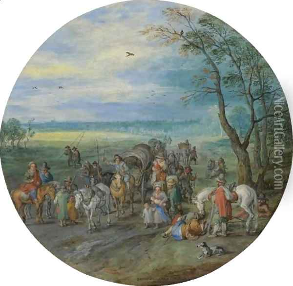 A Landscape With Travellers On A Road Passing A Small Copse Oil Painting - Jan The Elder Brueghel