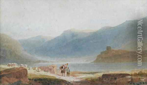 A Man With A Harp And His Son Near Dolbadern Castle, Llanberis Oil Painting - David Cox