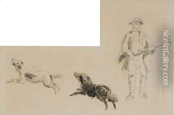 A Sportsman With His Two Retrievers Oil Painting - David Cox