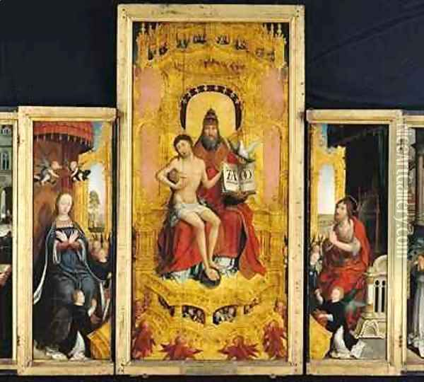 Polyptych of the Glorification of the Holy Trinity, central panel depicting the Trinity, the Virgin and St. John the Baptist Oil Painting - Jean Bellegambe the Elder