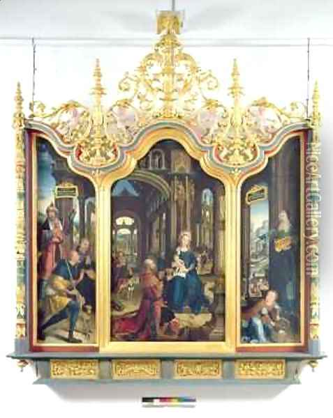 Triptych of the Adoration of the Infant Christ Oil Painting - Jean Bellegambe the Elder