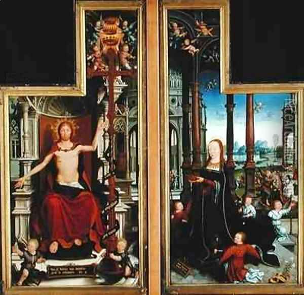 Polyptych of the Glorification of the Holy Trinity, panels depicting Christ Enthroned and the Virgin Oil Painting - Jean Bellegambe the Elder