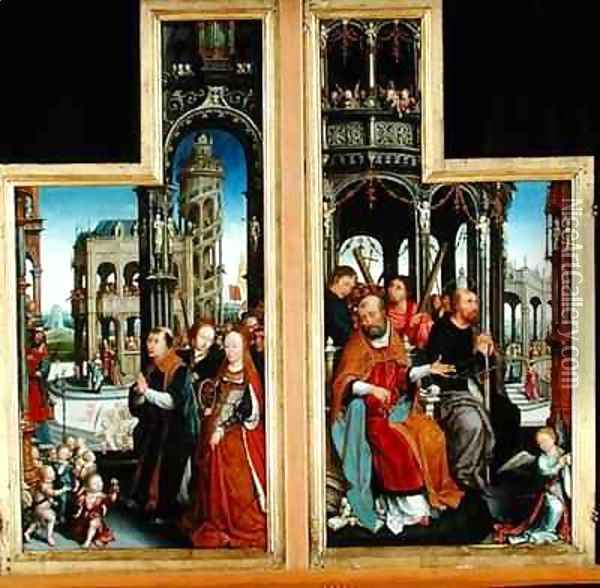 Polyptych of the Glorification of the Holy Trinity depicting apostles and martyrs Oil Painting - Jean Bellegambe the Elder