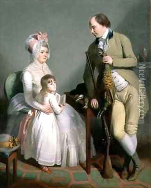 Mr and Mrs Custance of Norwich and their Daughter Frances Oil Painting - Sir William Beechey