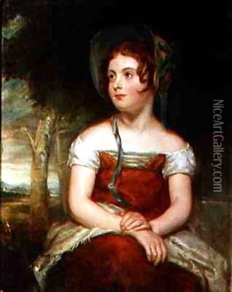 Portrait of a girl, possibly the artist's daughter Oil Painting - Sir William Beechey