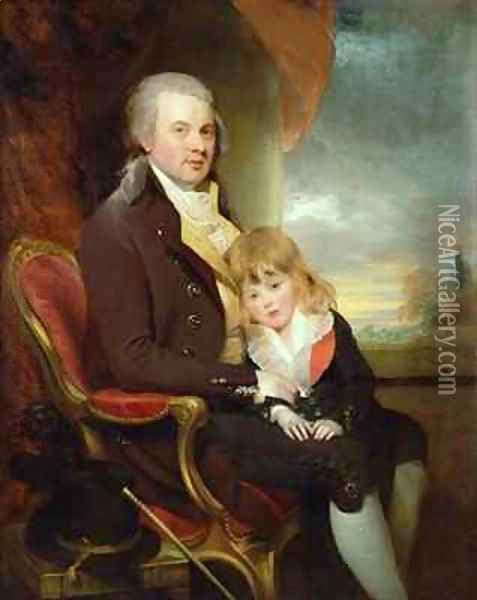 Edward George Lind and his Son, Montague Oil Painting - Sir William Beechey