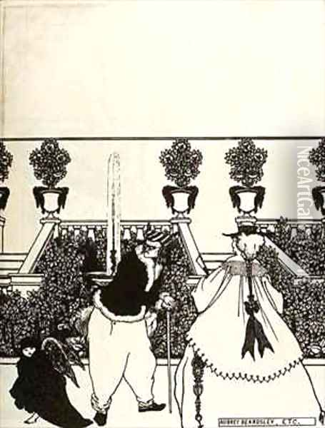 Cupid walks through the Garden, Front Cover Design for 'The Savoy' Oil Painting - Aubrey Vincent Beardsley