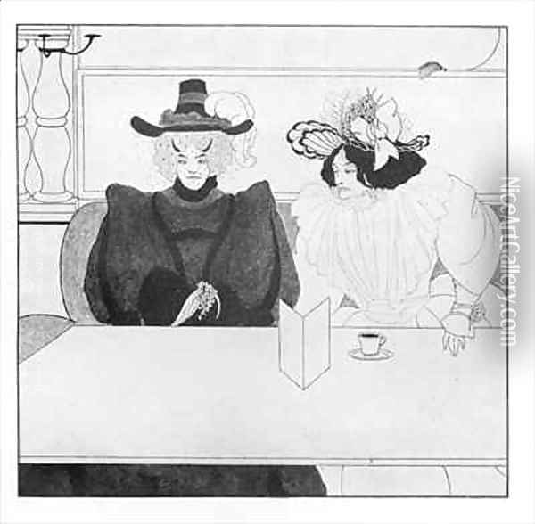 Black Coffee Oil Painting - Aubrey Vincent Beardsley
