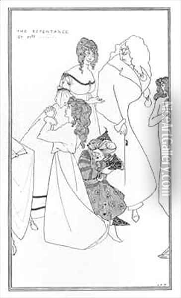 The Repentance of Mrs... Oil Painting - Aubrey Vincent Beardsley