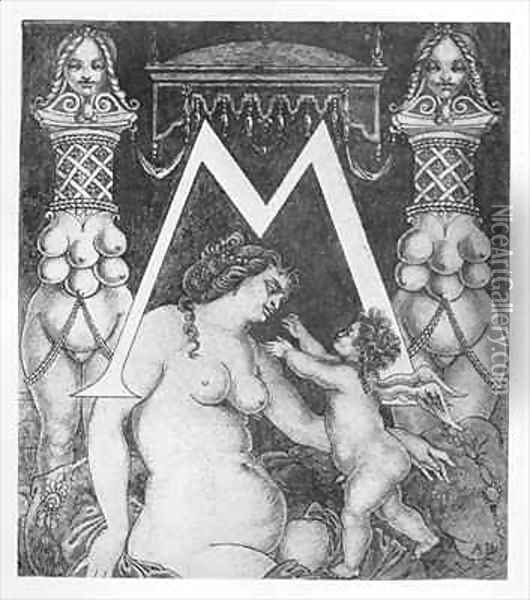 Initial Letter 'M' for Volpone Oil Painting - Aubrey Vincent Beardsley