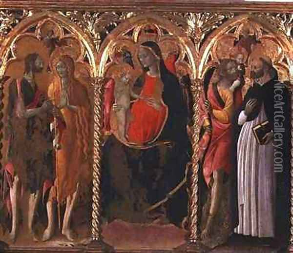 Triptych Madonna and Child (central panel) with St. John the Baptist, St. Mary Magdalene, St. Christopher and St. Dominic Oil Painting - Bartolomeo di Tommaso da Foligno