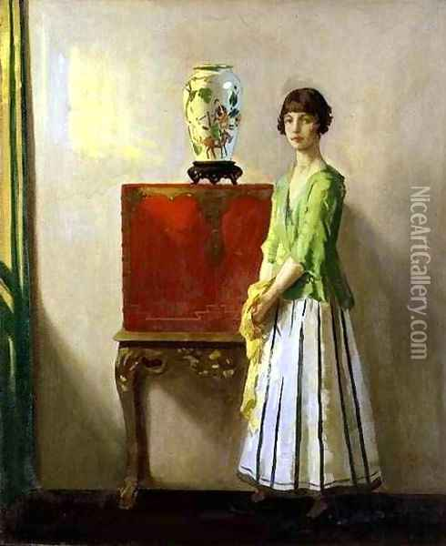 The Red Lacquer Cabinet Oil Painting - Archibald George Barnes