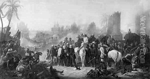 The Relief of Lucknow, and Triumphant Meeting of Havelock, Outram and Sir Colin Campbell Oil Painting - Thomas Jones Barker