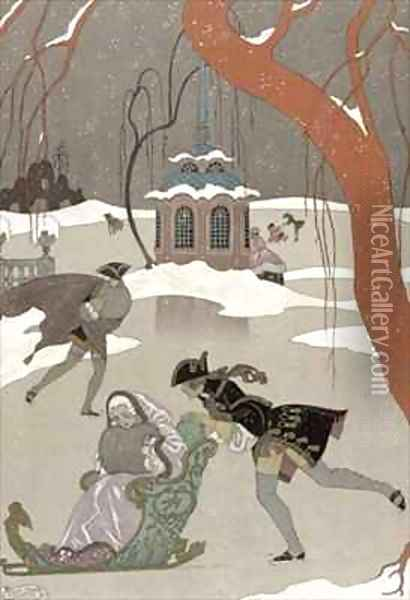 Ice Skating on the Frozen Lake Oil Painting - Georges Barbier