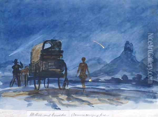 Comet and meteor seen from camp, Botswana Oil Painting - Thomas Baines