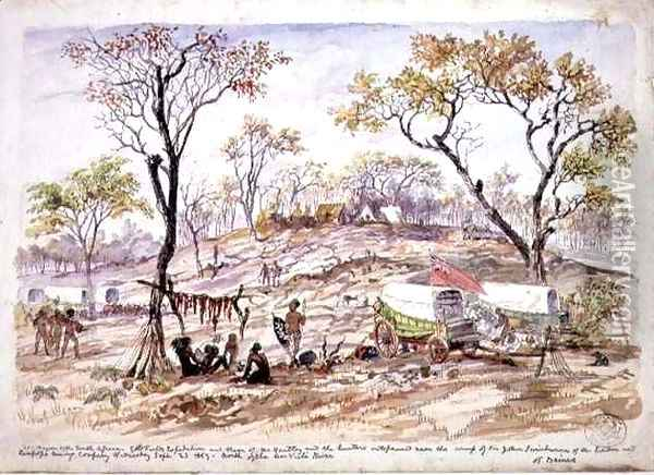 Wagon of the South African Goldfields Expedition and those of Mr Hartley outspanned near the camp of Sir John Swinburne of the London and Limpopo Mining Company Oil Painting - Thomas Baines