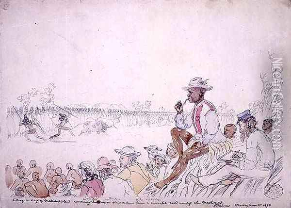 Lo Bengulu, King of Matabeleland, receiving his army on their return from a successful raid among the Mashonas Oil Painting - Thomas Baines