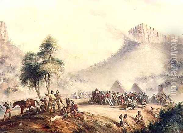Col. Yarborough's Patrol Attacked in Waterkloof by Kaffir and Rebel Hottentots Oil Painting - Thomas Baines