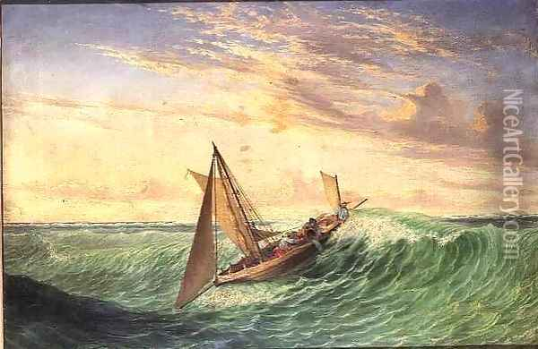 Messenger's Long boat running through the reefs of the Crocodile Islands Oil Painting - Thomas Baines