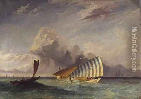 Trading proa in Madura Strait, Surabaya in the distance, Indonesia Oil Painting - Thomas Baines