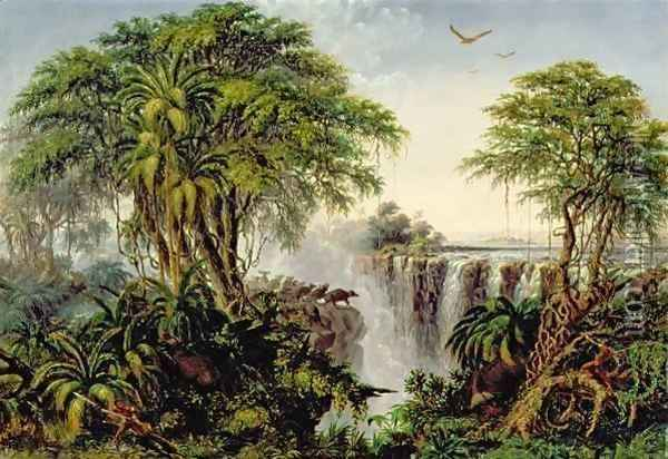 Victoria Falls with Stampeding Buffalo Oil Painting - Thomas Baines