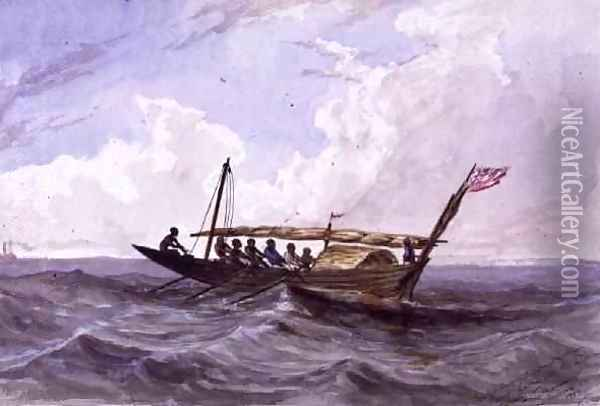 Native boat between Sierra Leone and adjacent country Oil Painting - Thomas Baines