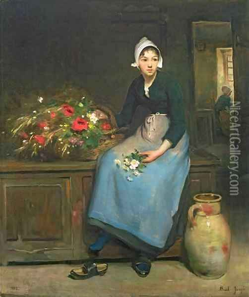 The Young Flower Seller Oil Painting - Joseph Bail