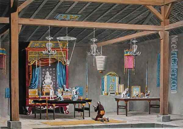 View of the Interior of the Chinese Temple at Coupang, Timor, from 'Voyage Autour du Monde sur les Corvettes de L'Uranie 1817-20' Oil Painting - Jacques Etienne Victor Arago