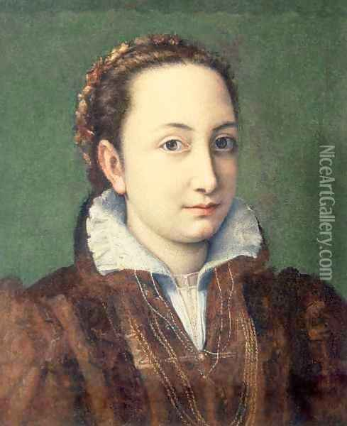 Self portrait, attired as maid-of-honour to the Queen of Spain Oil Painting - Sofonisba Anguissola