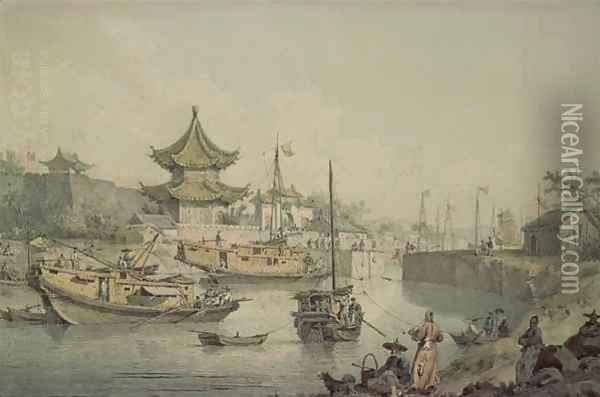 Barges of Lord Macartney's Embassy to China Oil Painting - William Alexander