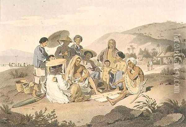 A Group of Cochin Chinese Oil Painting - William Alexander