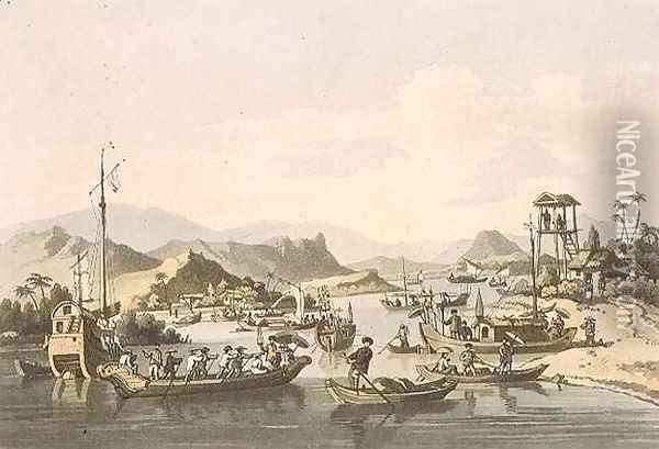 Cochin-Chinese Shipping on the River Taifo, plate 15 from 'A Voyage to Cochinchina' Oil Painting - William Alexander