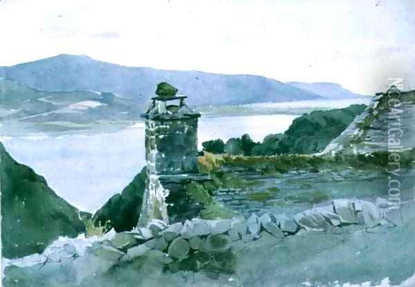 A hilly bay, seen from a wall over a roof Oil Painting - John Absolon