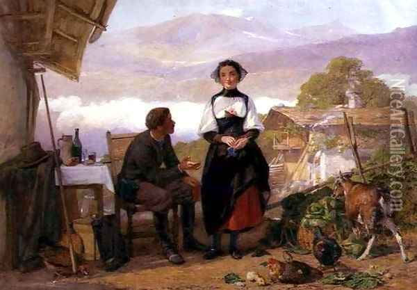 Courting couple in a mountain farmyard Oil Painting - John Absolon