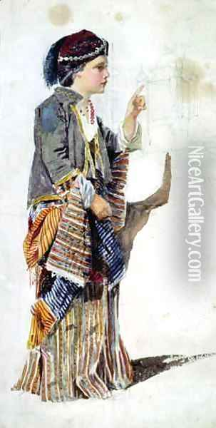Figure of a girl in Turkish costume Oil Painting - John Absolon