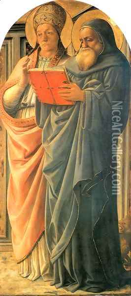 Four Doctors Triptych St Gregory and St Jerome Oil Painting - Fra Filippo Lippi
