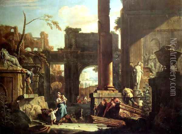Classical Ruins and Figures Oil Painting - Sebastiano Ricci