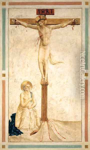 Crucifixion with St Dominic Flagellating Himself (Cell 20) Oil Painting - Angelico Fra
