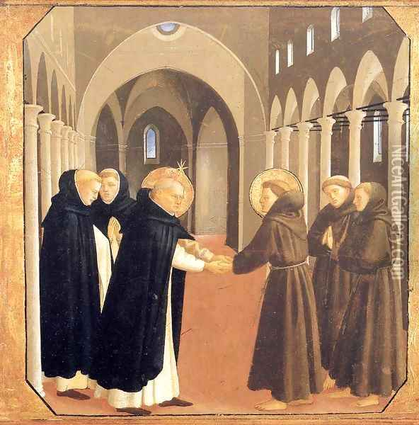 The Meeting of Sts Dominic and Francis of Assisi Oil Painting - Angelico Fra