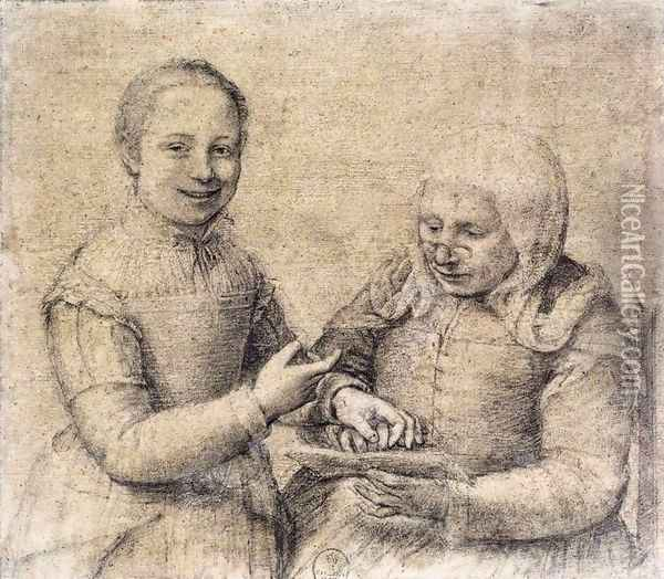 Old Woman Studying the Alphabet with a Laughing Girl Oil Painting - Sofonisba Anguissola