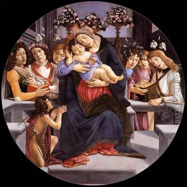 Virgin and Child with Six Angels and the Baptist Oil Painting - Sandro Botticelli