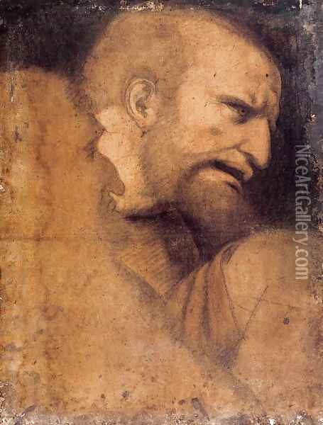 Head of St Peter Oil Painting - Leonardo Da Vinci