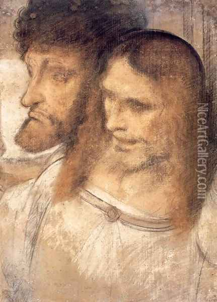 Heads of Sts Thomas and James the Greater Oil Painting - Leonardo Da Vinci